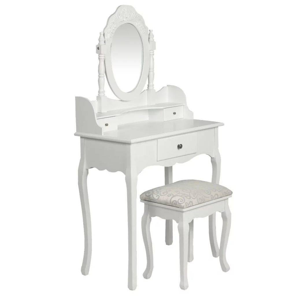 Μπουντουάρ με Καθρέφτη και Σκαμπό Λευκό