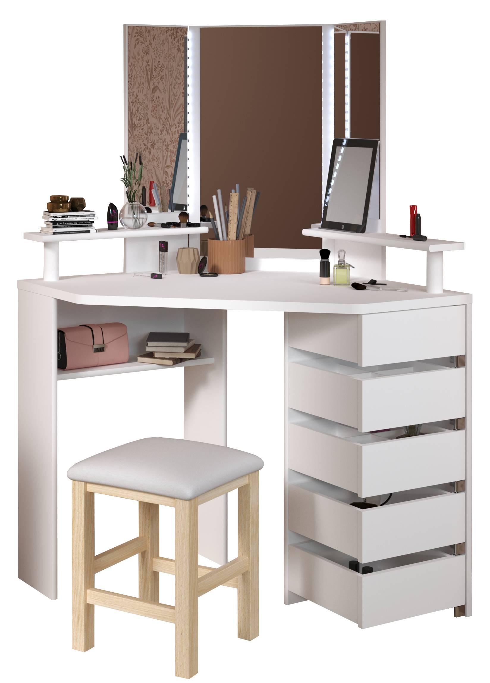 Γωνιακή Τουαλέτα Beauty με Καθρέπτη-Λευκό
