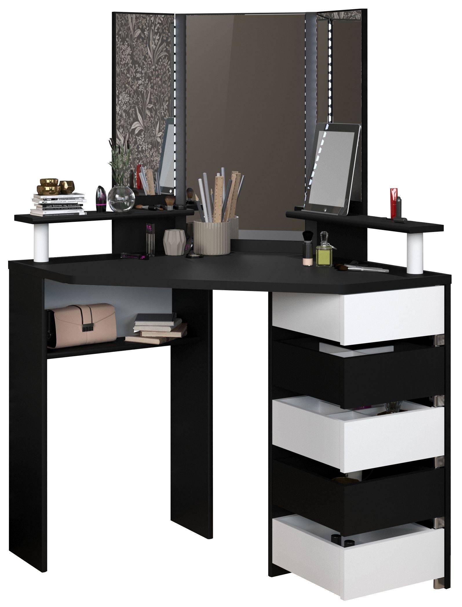 Γωνιακή Τουαλέτα Beauty με Καθρέπτη-Μαύρο - Λευκό