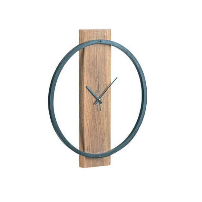 Ρολόι Τοίχου Φ45x4cm Ακακία Φυσικό/Μεταλ.Μαύρο