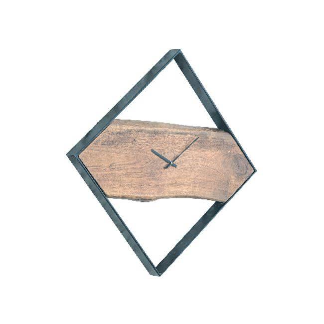 Ρολόι Τοίχου 45x4x45cm Ακακία Φυσικό/Μεταλ.Μαύρο
