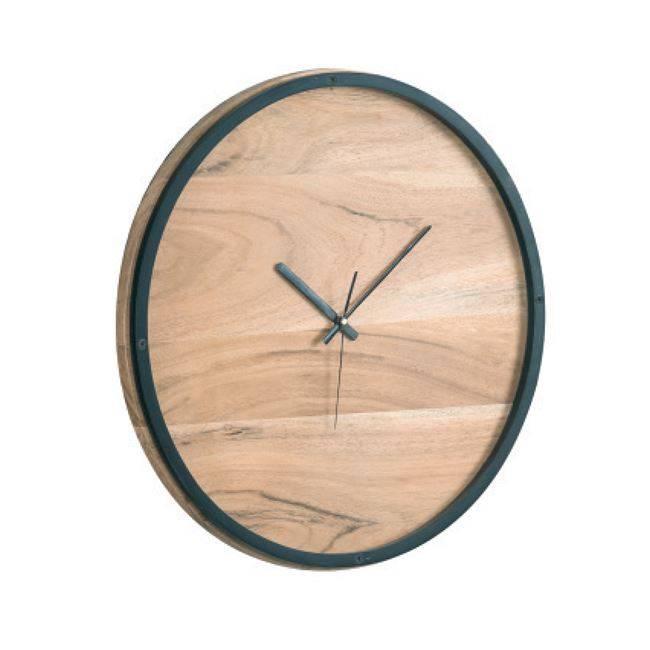 Ρολόι Τοίχου Φ40x4cm Ακακία Φυσικό/Μεταλ.Μαύρο