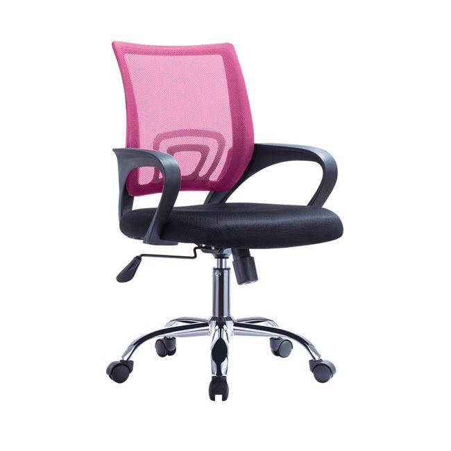 Χρώμιο Πολυθρόνα Ροζ/Μαύρο Mesh (Συσκ.1)