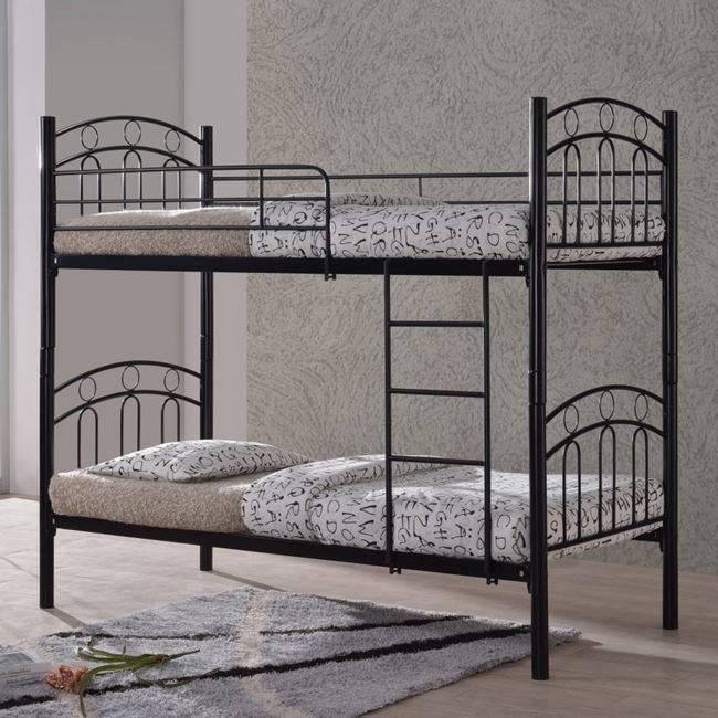 Kρεβάτι/Κουκέτα 90x200cm Mεταλ.Μαύρο