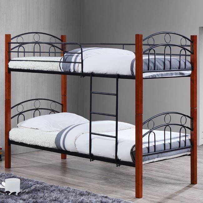 Kρεβάτι/Κουκέτα 90x190cm Mεταλ.Μαύρο/Ξύλο Καρυδί
