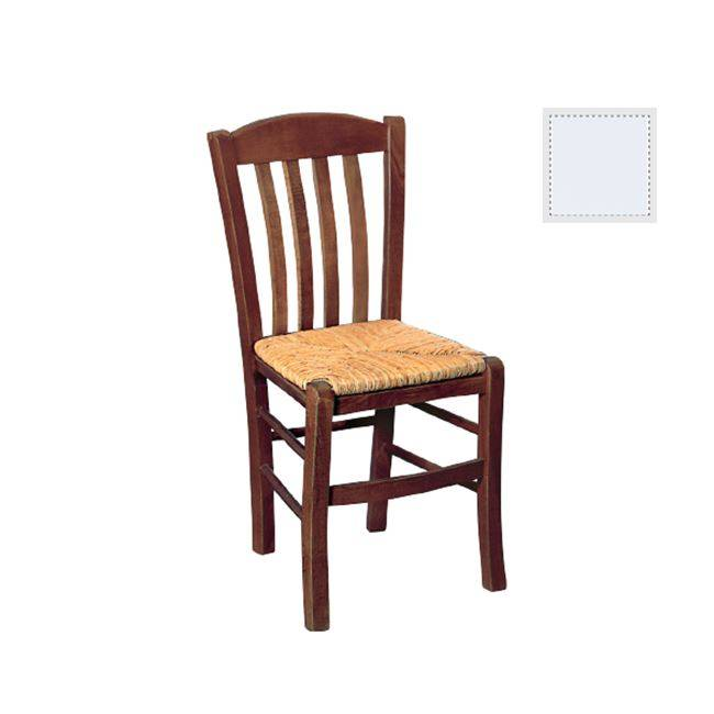 Καρέκλα Ψάθα Εμποτ.Λάκα Λευκή