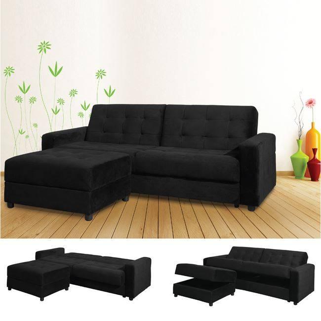 Καναπ.Κρεβάτι+Σκαμπώ Ύφ.Μαύρο