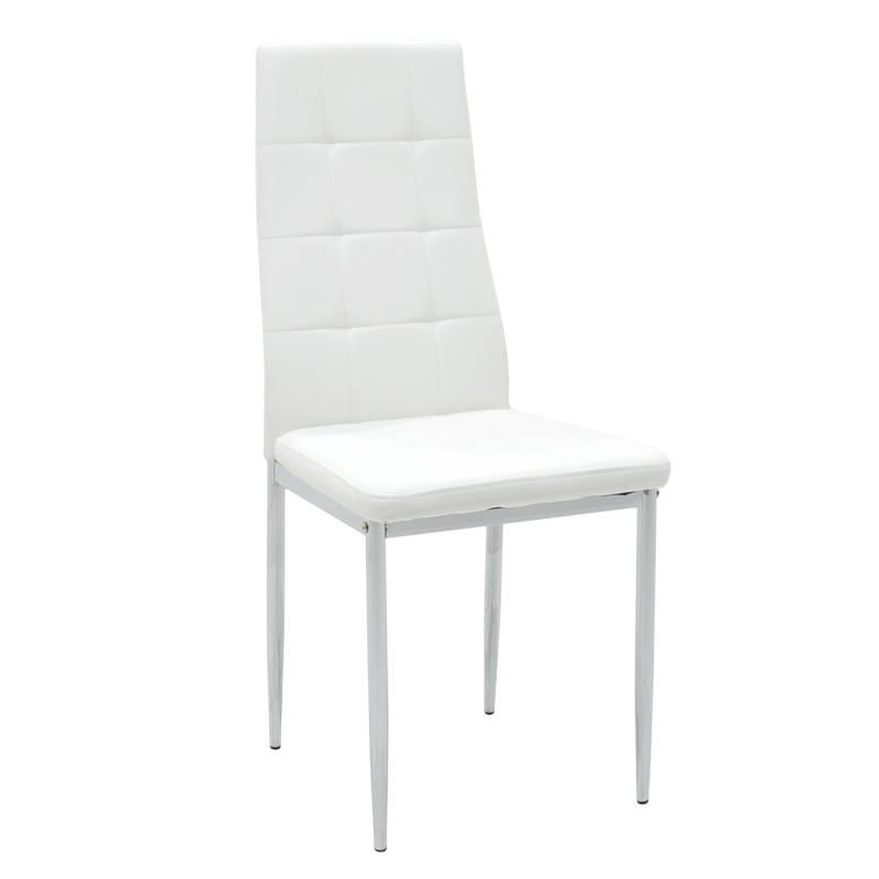 Καρέκλα Cube μεταλλική χρωμίου PU λευκό