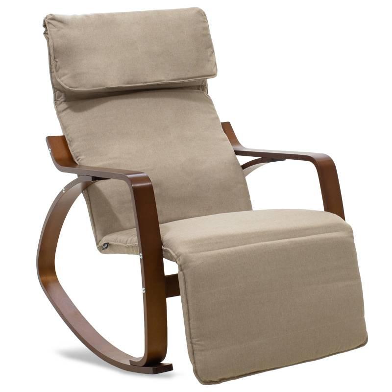 Πολυθρόνα Elma κουνιστή με υποπόδιο σε μόκα ύφασμα και καρυδί ξύλο