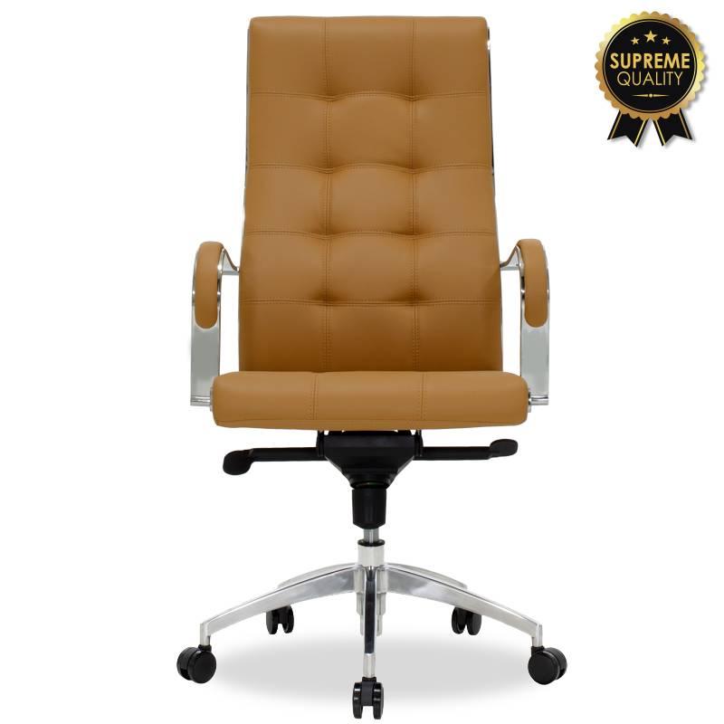 Καρέκλα γραφείου διευθυντή Alabama SUPREME QUALITY με καφέ-ταμπά τεχνόδερμα