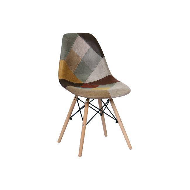 ART Wood Καρέκλα PP, Ύφασμα Patchwork Καφέ ΕΜ123,82