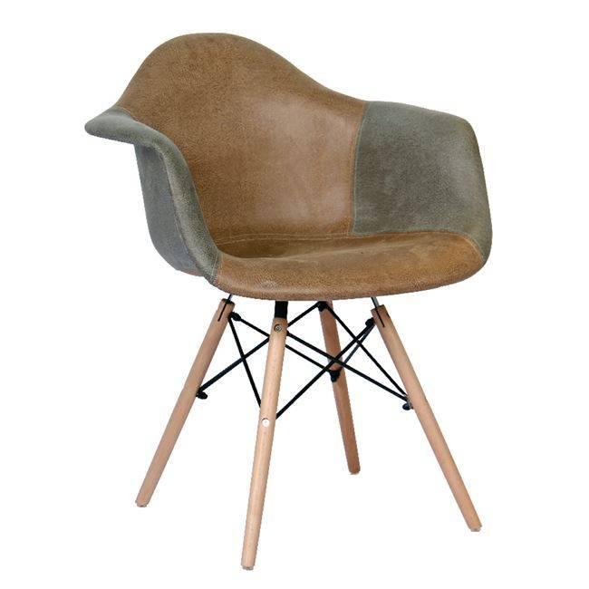ALEA Wood Πολυθρόνα PP, Ύφασμα Γκρι/Καφέ ΕΜ129,83