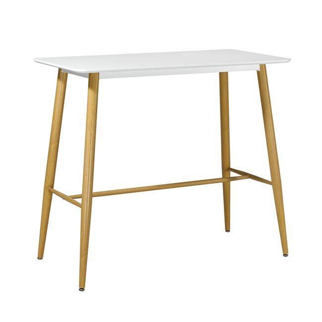 LAVIDA Τραπέζι BAR 120x60 Λευκό, Μεταλ.Φυσικό ΕΜ154,1