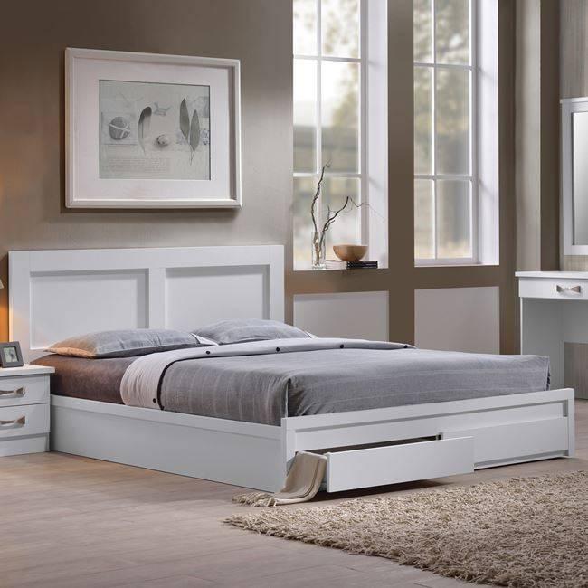 LIFE Κρεβάτι-Συρτάρια 160x200  Άσπρο ΕΜ363,1