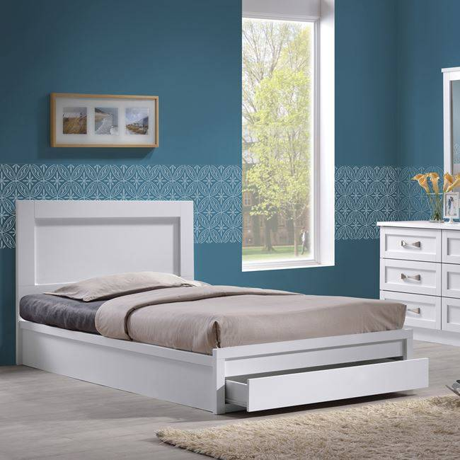 LIFE Κρεβάτι-Συρτάρι 90x200  Άσπρο ΕΜ3633,1