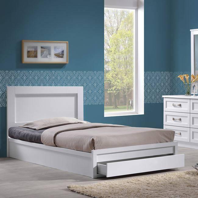 LIFE Κρεβάτι-Συρτάρι 90x200 Λευκό ΕΜ3633,1