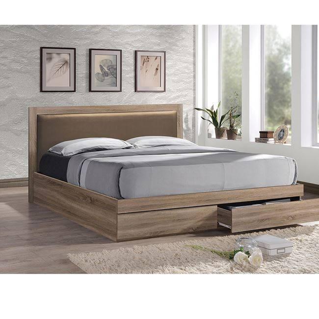 LIFE Κρεβάτι-Συρτάρια 160x200/Κεφ.PVC Cappuccino/Sonoma ΕΜ371,2