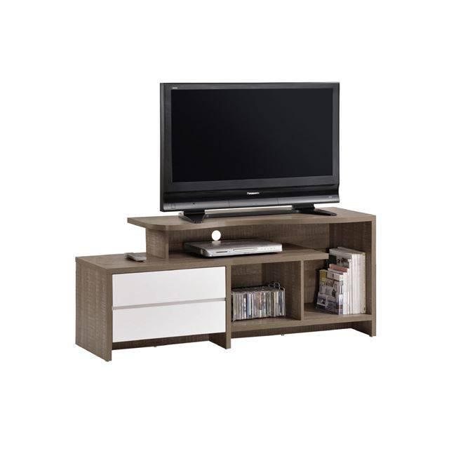 LIFE Έπιπλο TV 2-Συρτ.150x41x60 απόχρωση Καρυδί Δρυς/Λευκό ΕΜ377