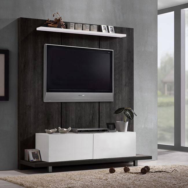 LIFE TV Wall 160x46x175 απόχρωση Μαύρο Δρυς/Λευκό ΕΜ380