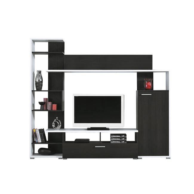 LIFE Σύνθεση Τοίχου 200x40x180 απόχρωση Μαύρο Δρυς/ Άσπρο ΕΜ384
