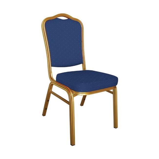 HILTON Καρέκλα Μεταλλική Gold/Ύφασμα Μπλε ΕΜ513,2