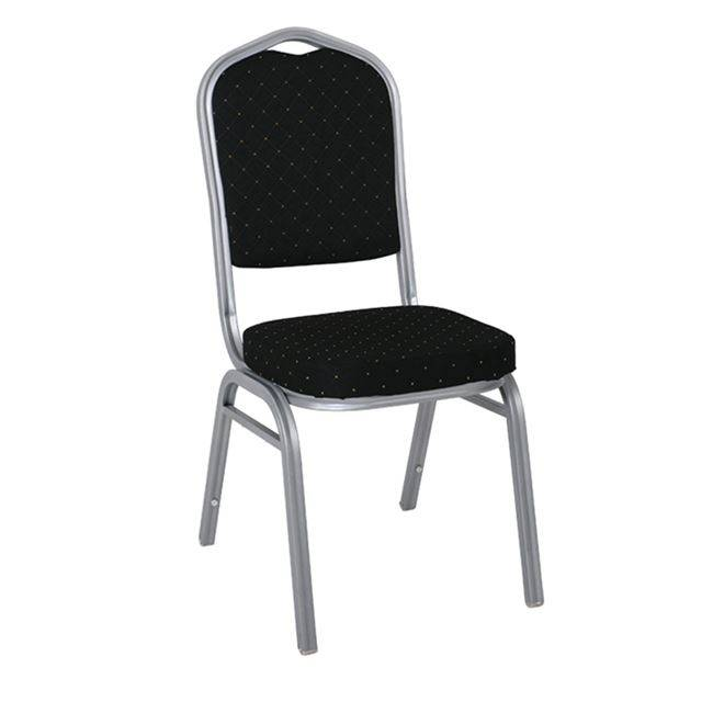 HILTON Καρέκλα Μεταλλική Silver Ύφασμα Μαύρο ΕΜ513,4