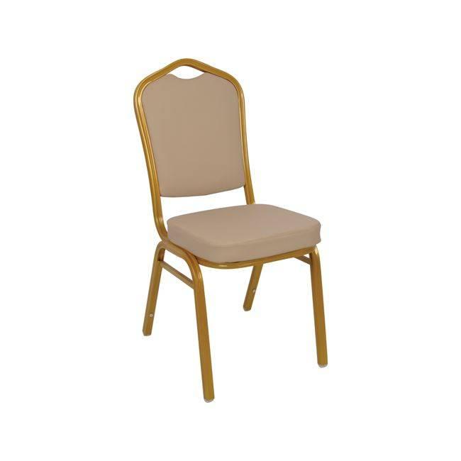 HILTON Καρέκλα Μεταλλική Gold/Pu Cappuccino ΕΜ513,7