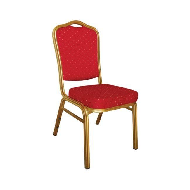 HILTON Καρέκλα Μεταλλική Gold/Ύφασμα Κόκκινο ΕΜ513