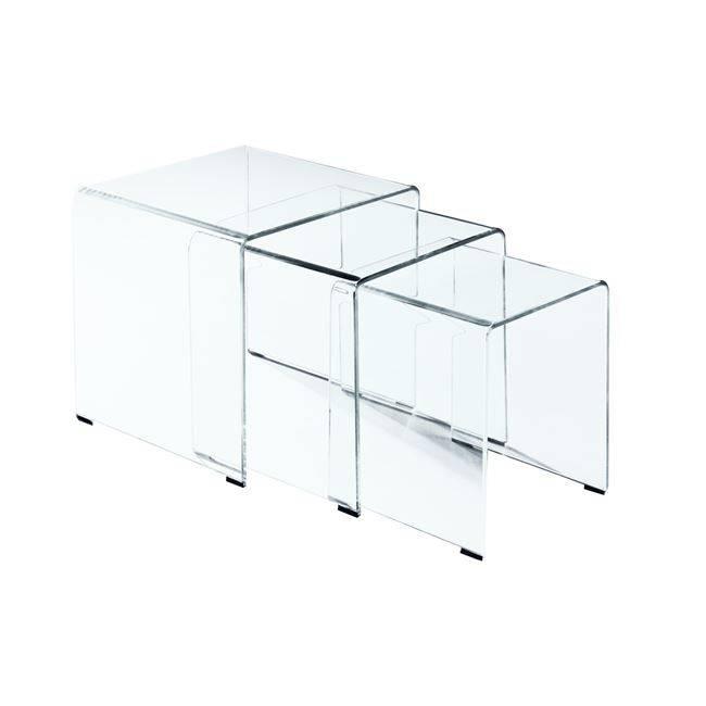 GLASSER Clear Set-3 Τραπεζάκια γυαλί 10mm 42x42x42cm ΕΜ725,1