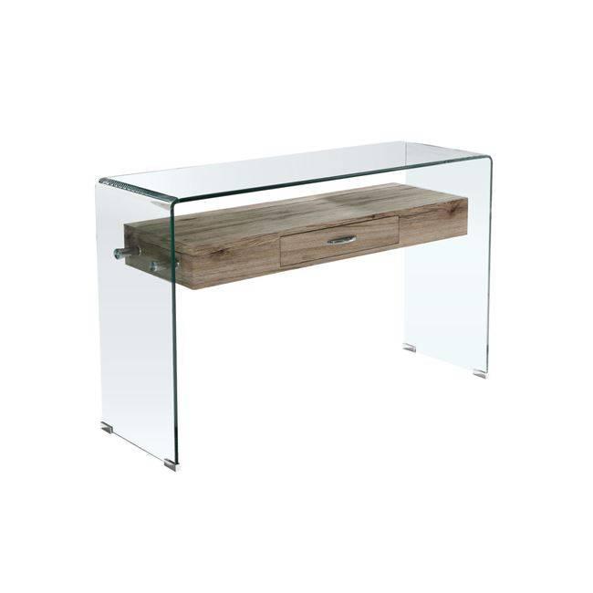 GLASSER Wood Κονσόλα με ράφι Clear γυαλί 12mm 120x40x75cm ΕΜ737