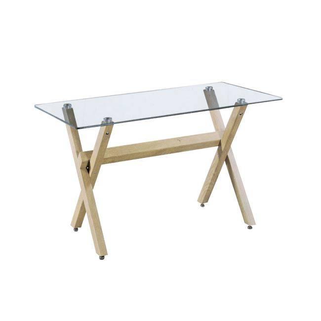 VOLTER Τραπέζι 140x80 Μεταλ.Φυσικό/Γυαλί ΕΜ741