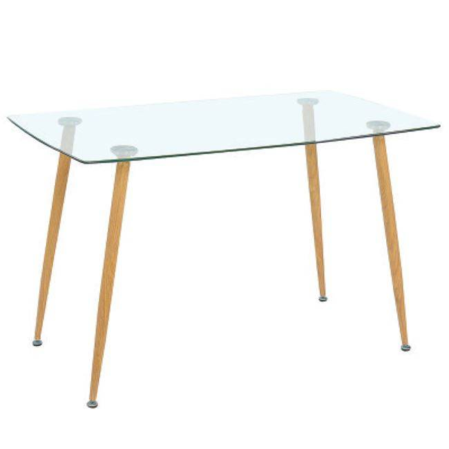 ROBY Τραπέζι 120x70cm Μεταλ.Βαφή Φυσικό/Γυαλί ΕΜ760