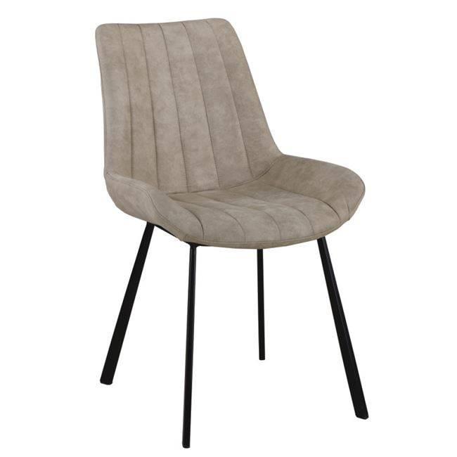 MATT Καρέκλα Μεταλλική Μαύρη/Ύφασμα Suede Μπεζ ΕΜ790,3