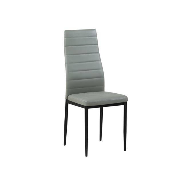 JETTA Καρέκλα PVC Γκρι/Βαφή Μαύρη (Συσκ.6) ΕΜ966Β,86