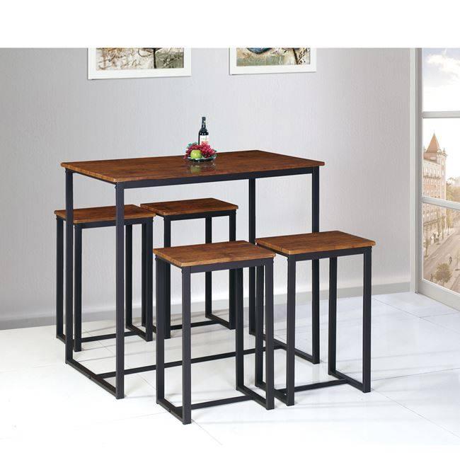 HENRY Set Bar (Τραπ.100x60cm+4 Σκαμπώ) Μεταλ.Σκ.Καφέ/Καρυδί ΕΜ9795