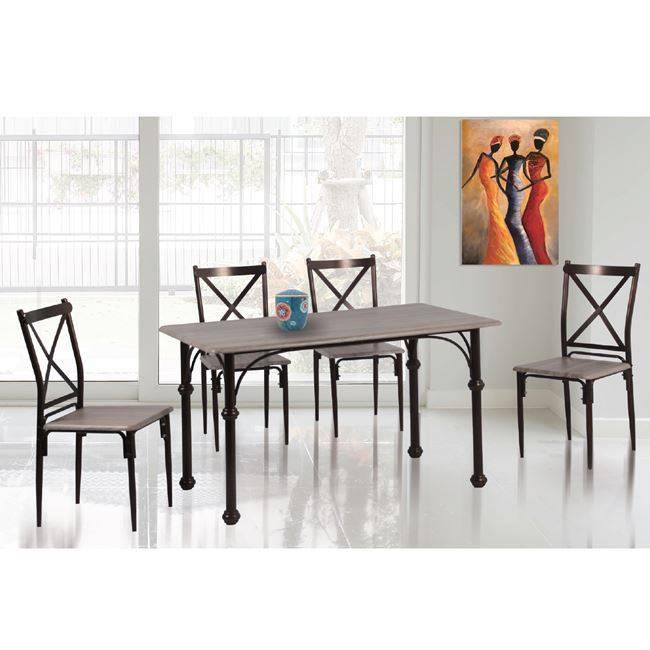 LUGO Set (Τραπ.120x70cm+4 Καρέκ) Μεταλ.Bronze /Sonoma ΕΜ9797,1