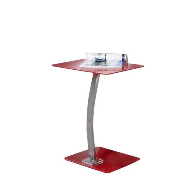 SOLID Τραπ.LapTop 48x32x58cm Γυαλί Κόκκινο/Χρώμιο ΕΟ400,2