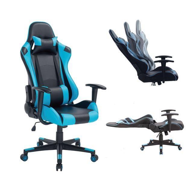 BF8000 Gaming Πολυθρόνα Διευθ/ντή Pvc Μαύρο/Μπλε ΕΟ576