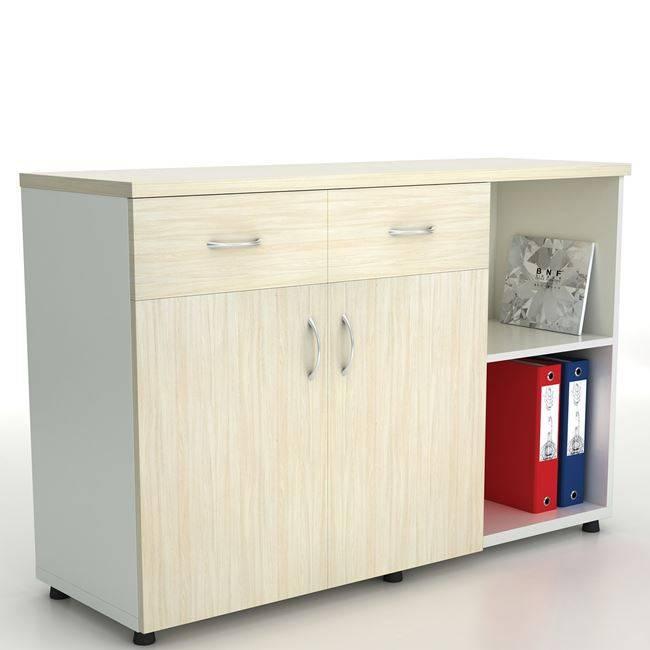 PLANET Ντουλάπι Πλαϊνό (2 πόρτες+2 συρτ) 120x40x80cm Απ.Σημύδας/Λευκό ΕΟ926