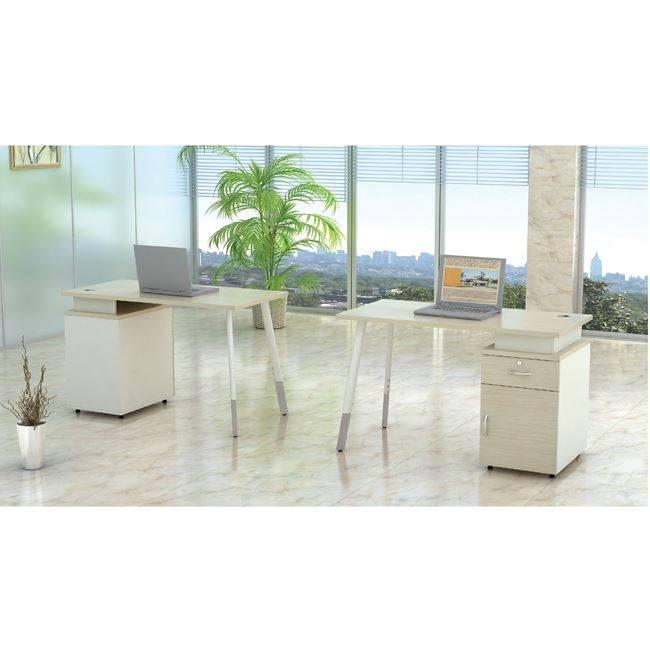 PLANET Metal Γραφείο&Ντουλάπι(1 πόρτα&1 συρτ) 140x60cm Απ.Σημύδας/Λευκό ΕΟ933