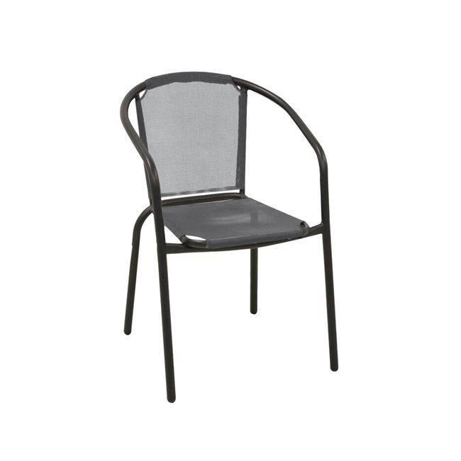 BALENO Πολυθρόνα Μεταλ.Μαύρη/Textilene Γκρι Ε2402,1