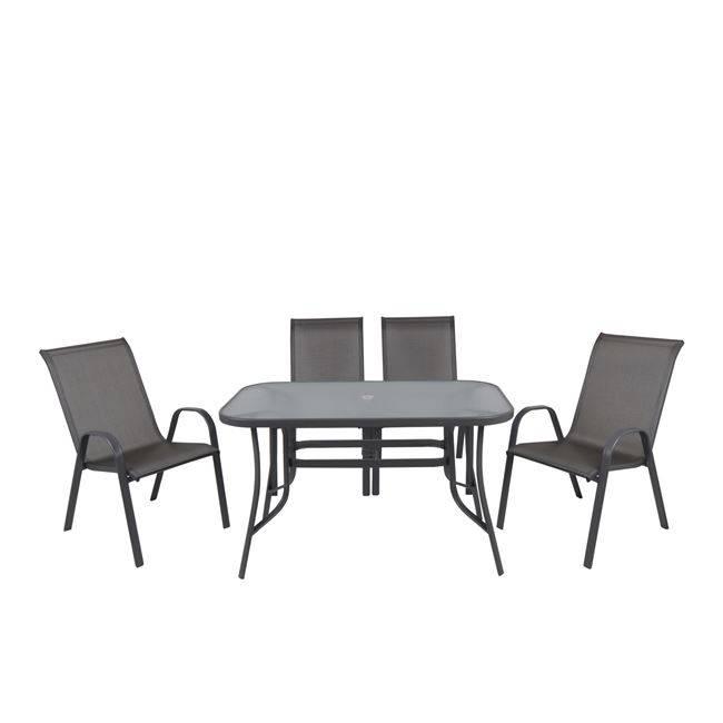 RIO Set (Τρ.120x70cm+4 Πολ) Μετ.Ανθρακί/Text.Γκρι/Γυαλί Pear Clear Ε250,3