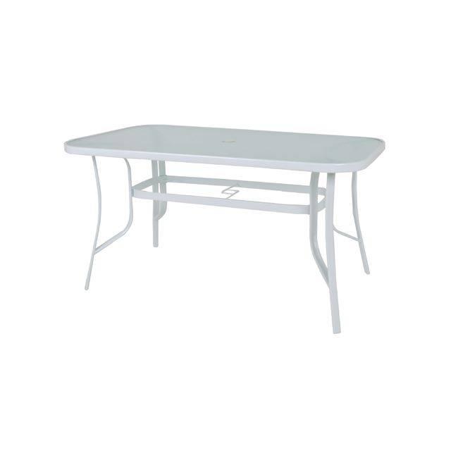 RIO Τραπέζι 150x90cm Μεταλλικό Λευκό/Γυαλί Pear Clear Ε2501,2