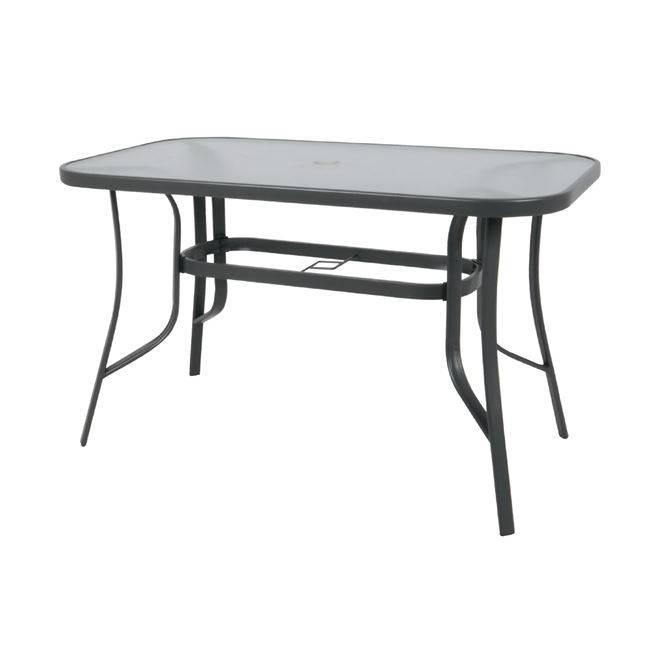 RIO Τραπέζι 150x90cm Μεταλλικό Ανθρακί/Γυαλί Pear Clear Ε2501