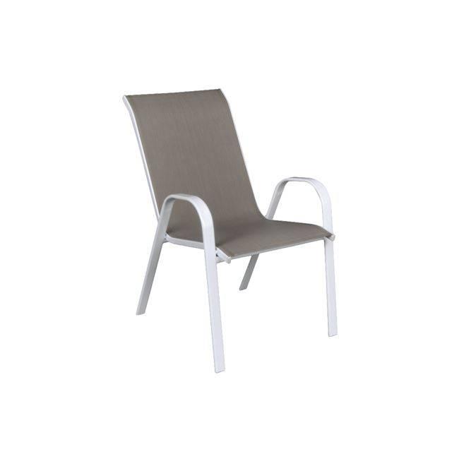 RIO Πολυθρόνα Μεταλλική Λευκή/Textilene Cappuccino Ε270,2
