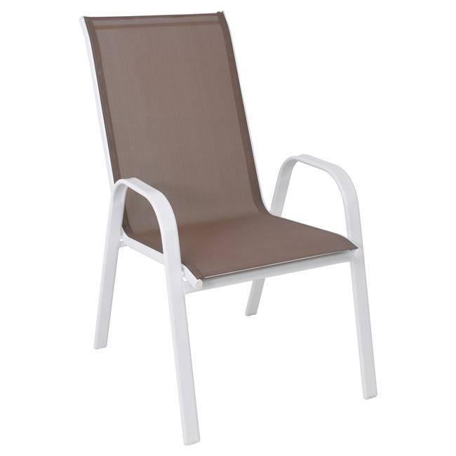 RIO Πολυθρόνα Μεταλλική Λευκή/Textilene Cappuccino Ε270,20