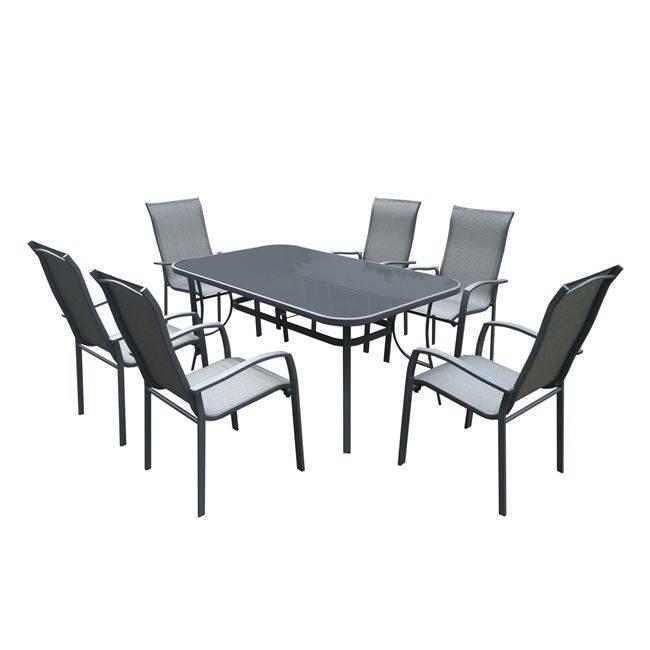VERONA Set(Τραπέζι 160x96+6 Πολυθρόνες) Μετ.Ανθρακί/Silk Screen/Textil.Γκρι Ε272