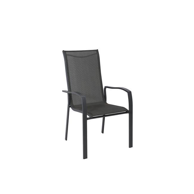 VERONA Πολυθρόνα Μεταλ.Ανθρακί/Textilene Γκρι Ε273