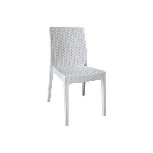 DAFNE Καρέκ.Πλαστική Άσπρη (Rattan Look) Ε328,1