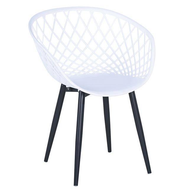 REX Πολυθρόνα Μεταλλική Μαύρη/PP-UV Λευκό Ε373,1